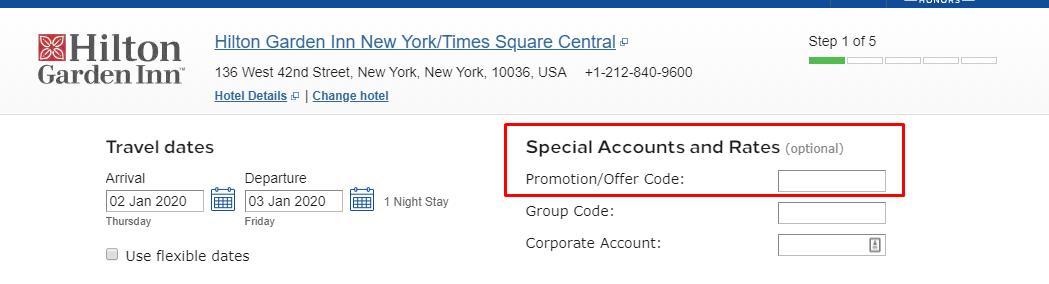 How do I use my Hilton discount code?