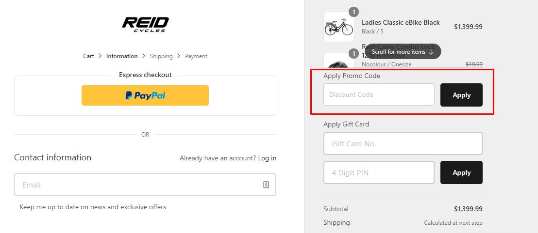 How do I use my Reid Cycles promo code?