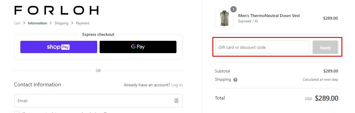 How do I use my Forloh discount code?