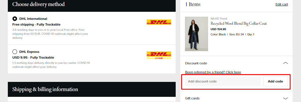 How do I use my NA-KD discount code?