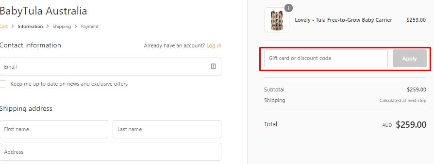 How do I use my Baby Tula discount code?