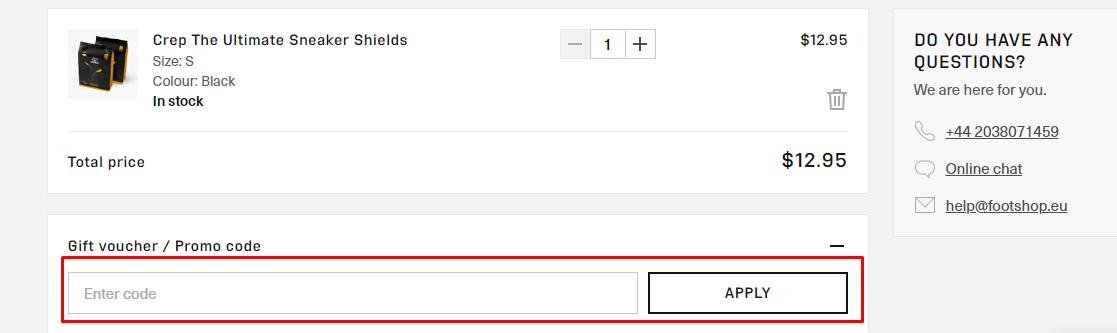 How do I use my Footshop promo code?