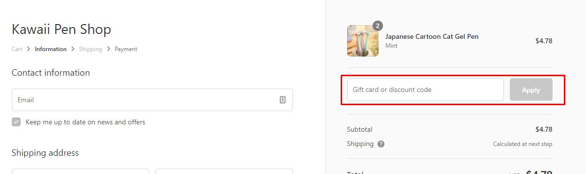 How do I use my Kawaiipenshop discount code?