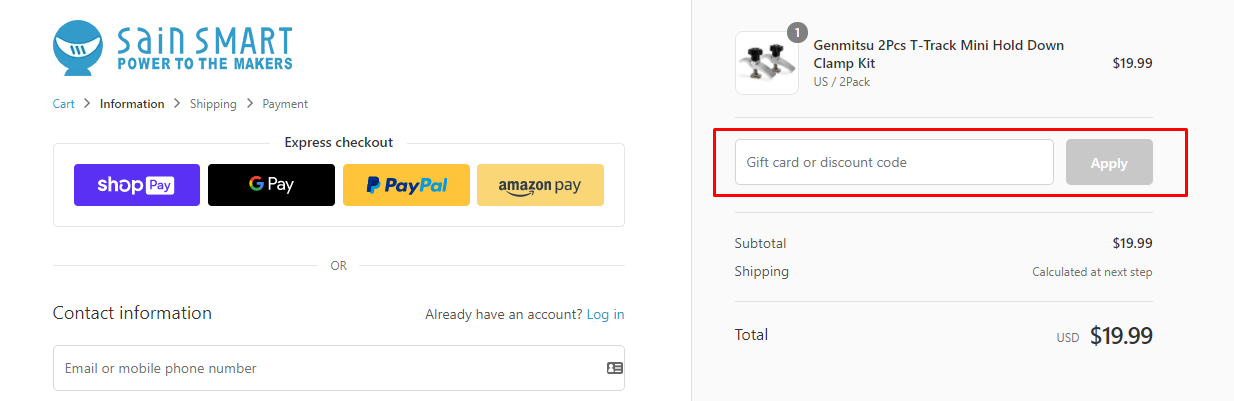 How do I use my Sain Smart discount code?