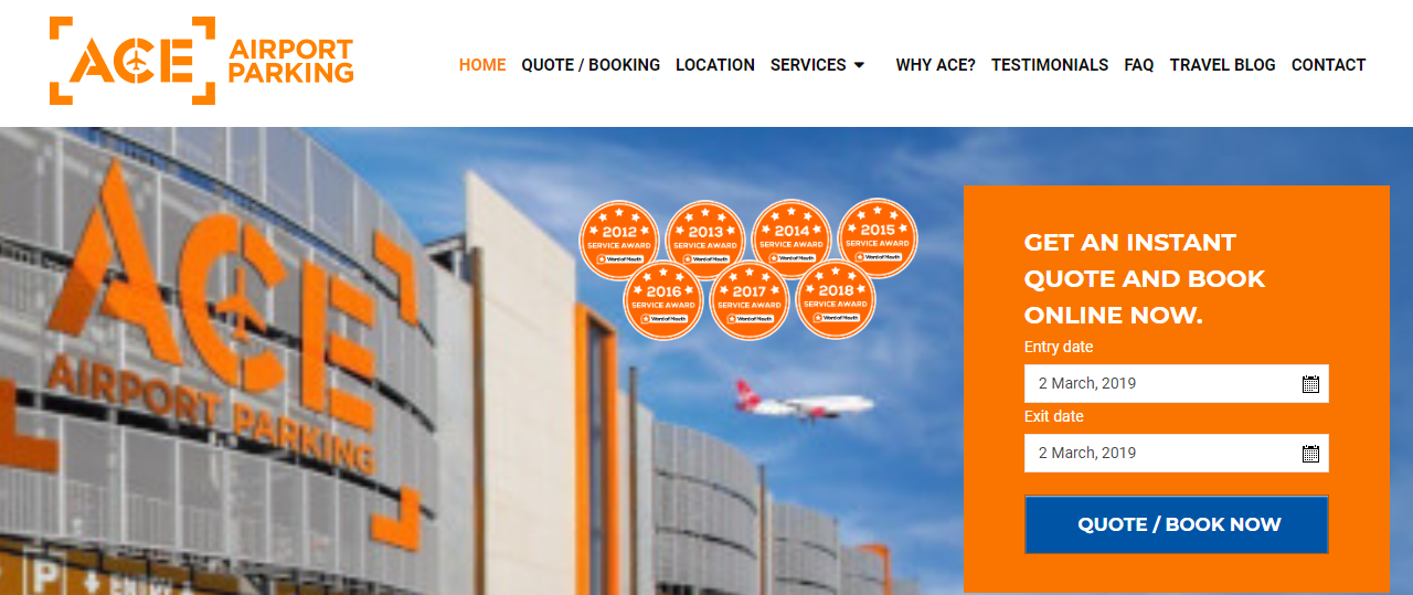 Ace Airport Parking Homepage