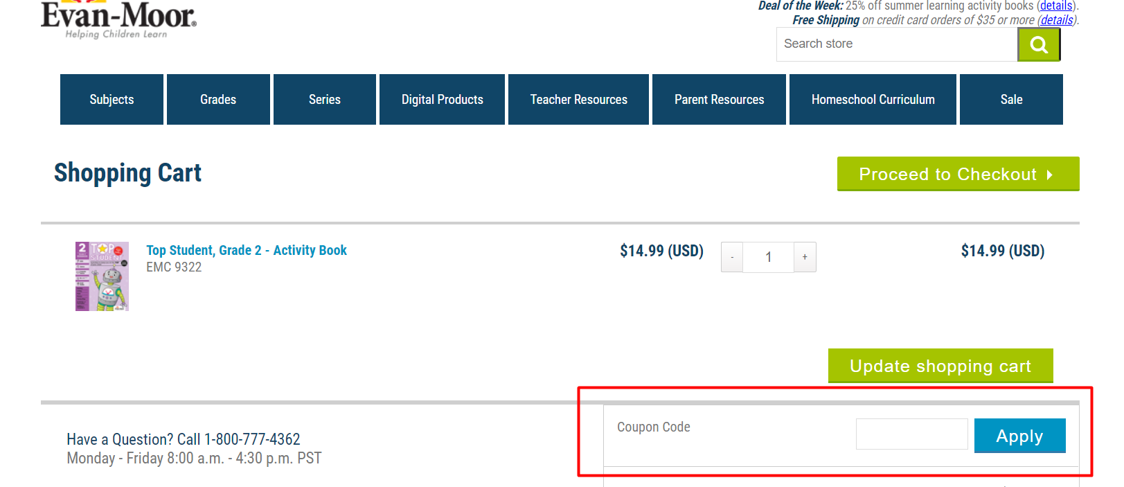 How do I use my Evan-Moor Educational Publishers discount code?
