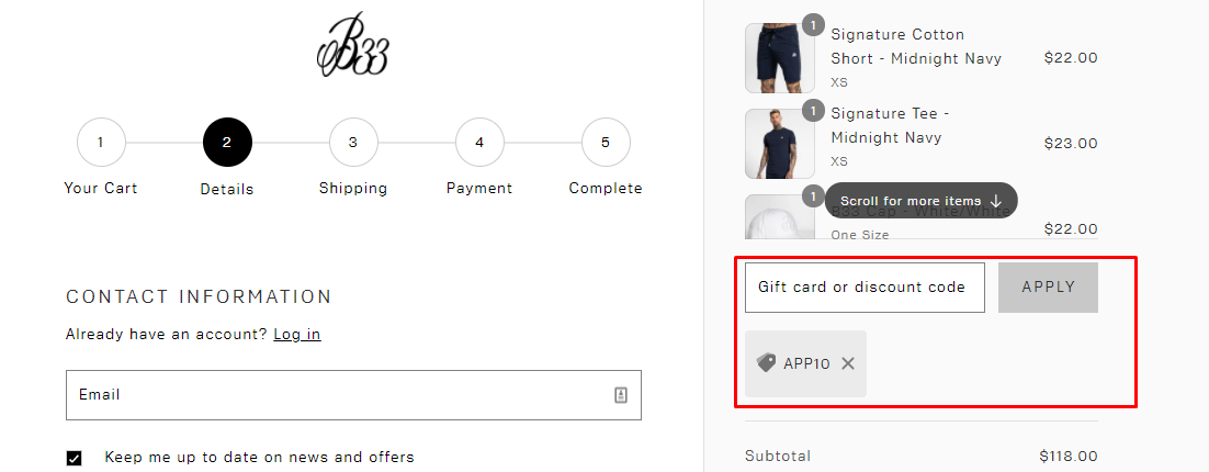 How do I use my Bee Inspired Clothing discount code?