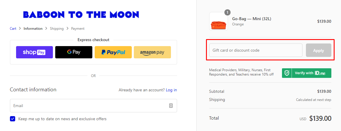 How do I use my Baboon To The Moon discount code?