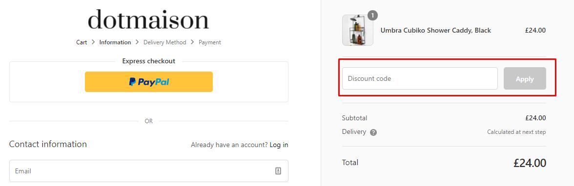 How do I use my Dotmaison discount code?