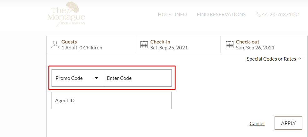How do I use my Chesterfield Mayfair Hotel promo code?