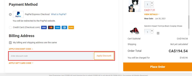 How do I use my EZCosplay discount code?