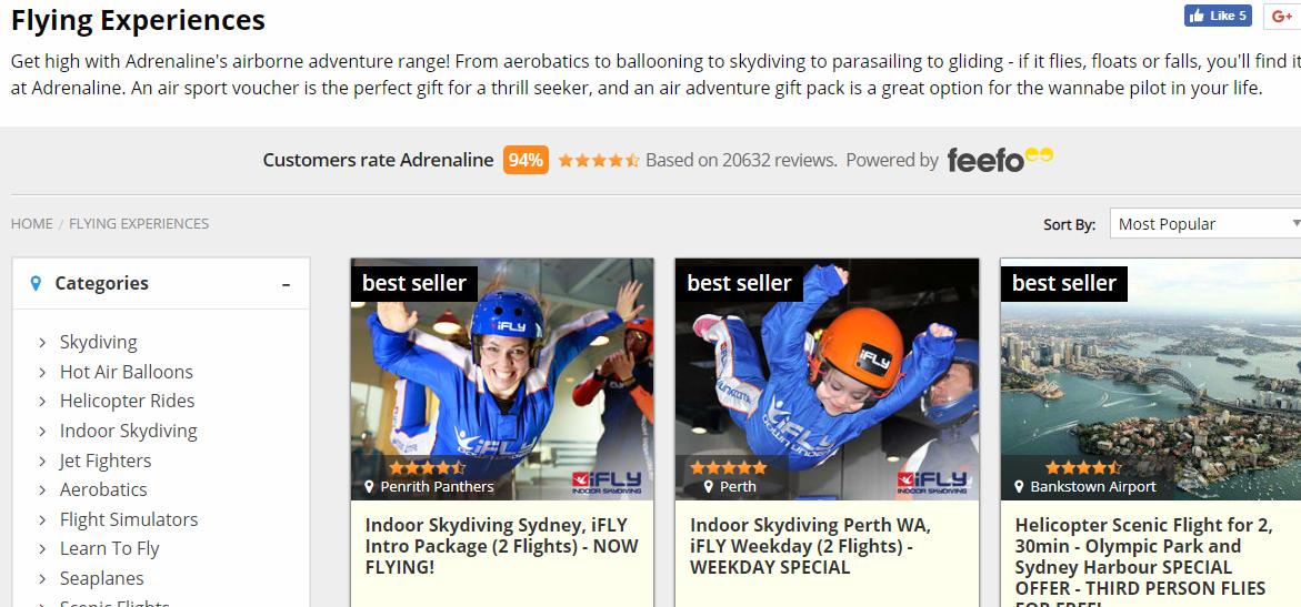 Adrenaline Flying Experiences Best Sellers