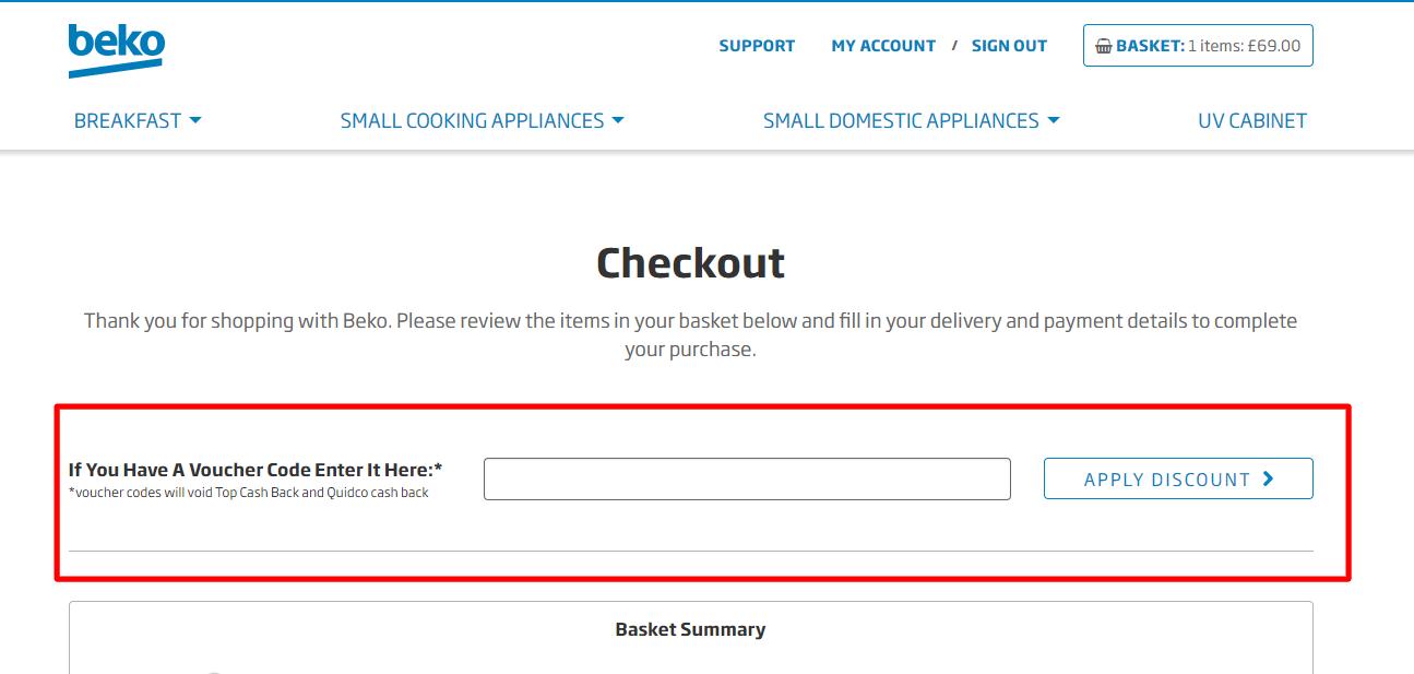How do I use my beko discount code?