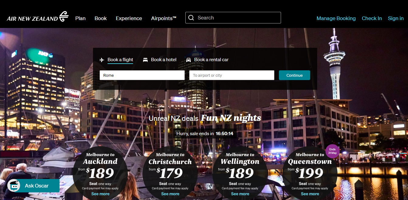 Air New Zealand Homepage