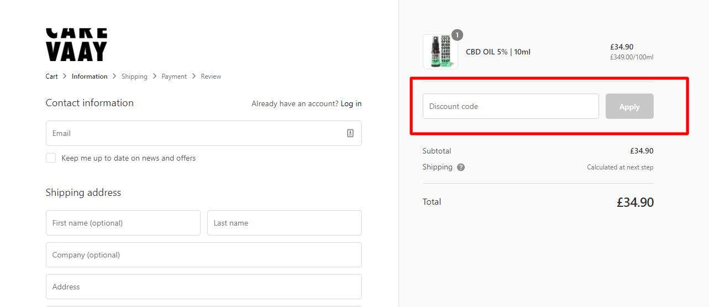 How do I use my CARE VAAY discount code?