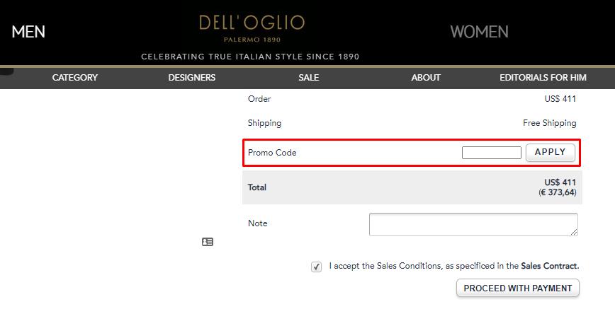 How do I use my DELL'OGLIO SPA promo code?
