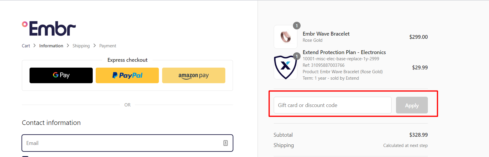 How do I use my Embr discount code