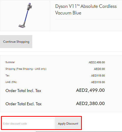 How do I use my Dyson discount code?