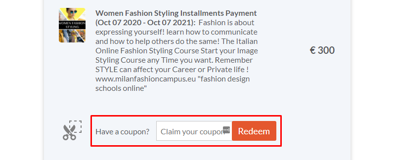 How do I use my Milan Fashion Campus coupon code?