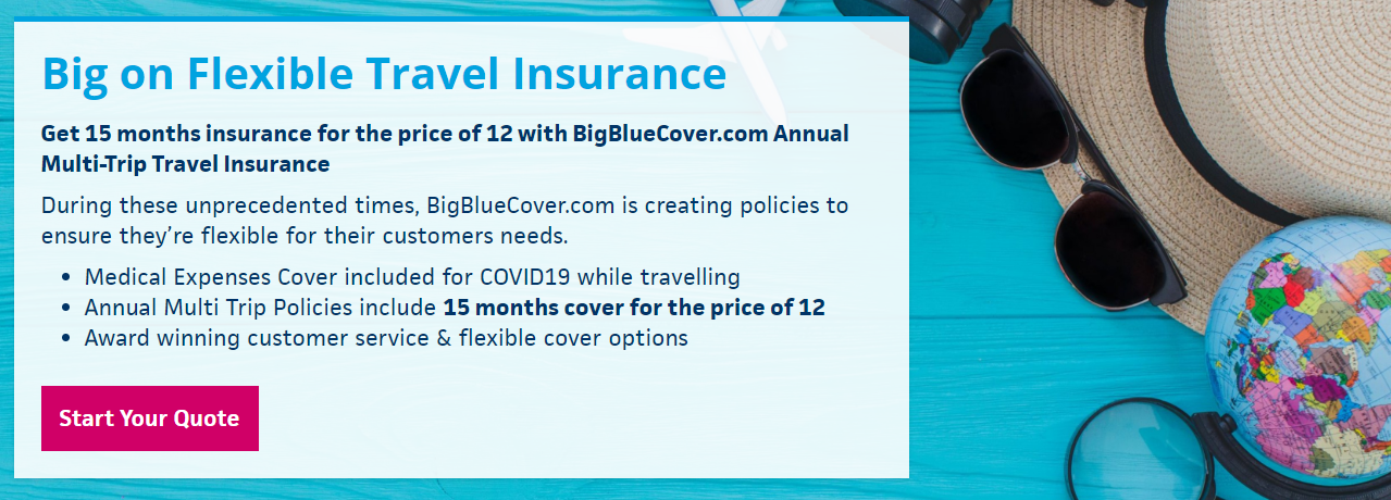 About Big Blue Travel Cover Insurance homepage