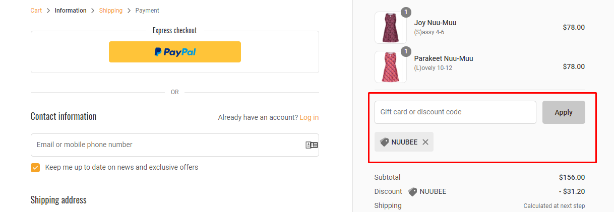 How do I use my Nuu-Muu discount code?
