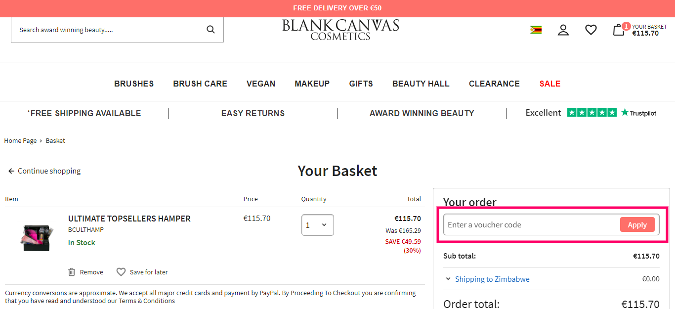 How to useBlank Canvas Cosmetics Voucher code