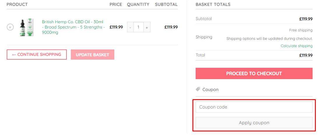 How do I use my British CBD coupon code?
