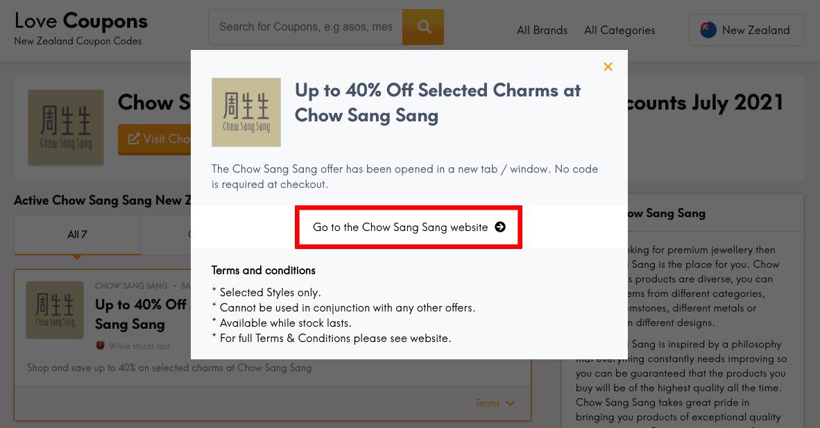 Chow Sang Sang NZ Get Coupon