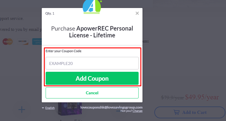 How do I use my Apowersoft coupon code?