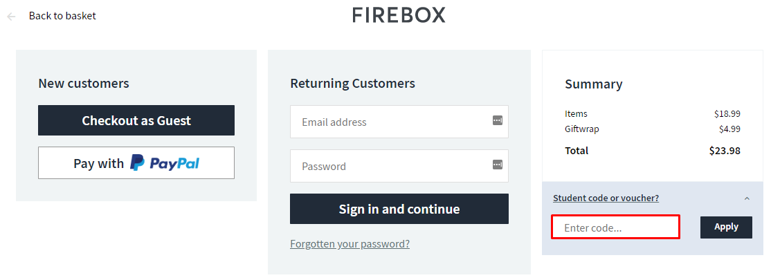 How do I use my Firebox discount code?