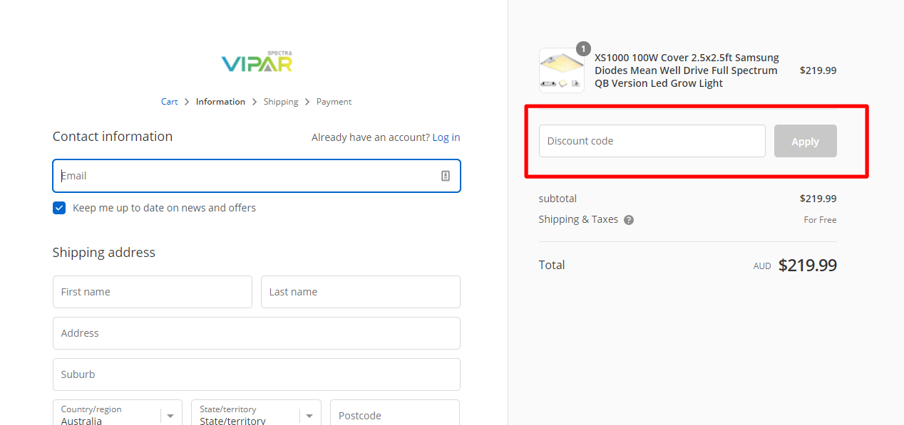 How do I use my VIPAR SPECTRA discount code?