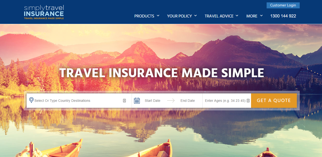 Simply Travel Insurance Homepage