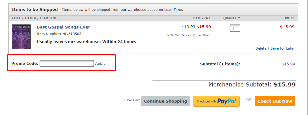 How do I use my Sheet Music Plus discount code?