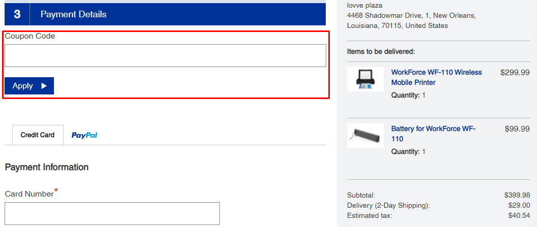 How do I use my Epson coupon code?