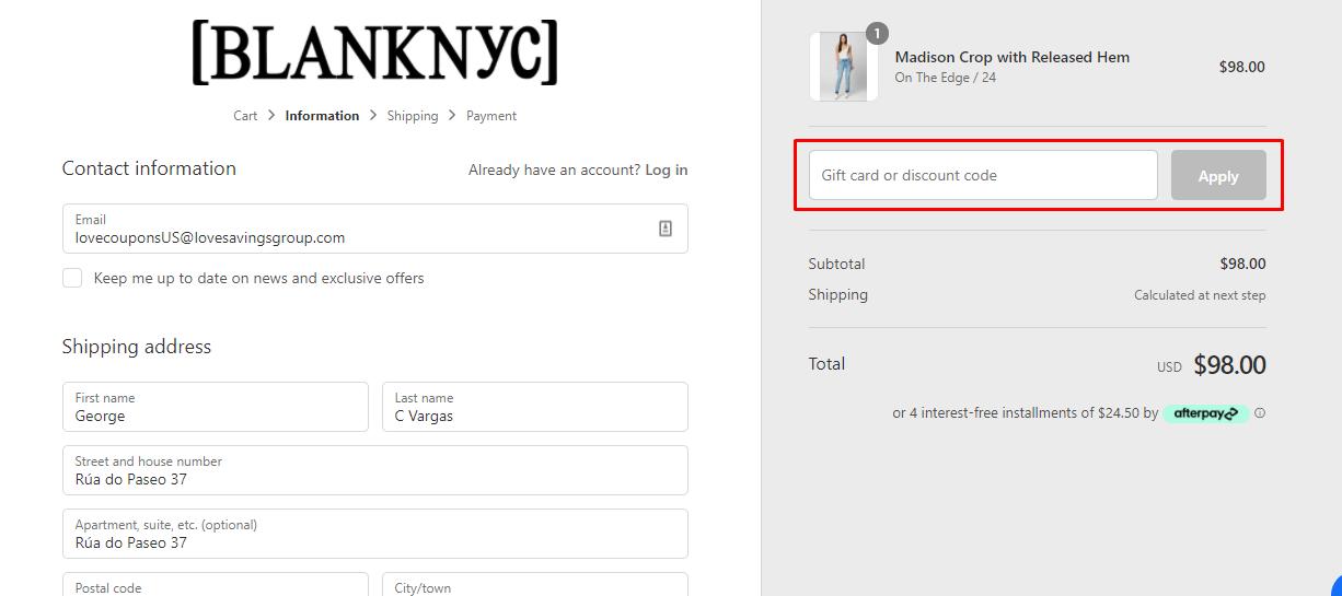How do I use my BlankNYC gift/discount code?
