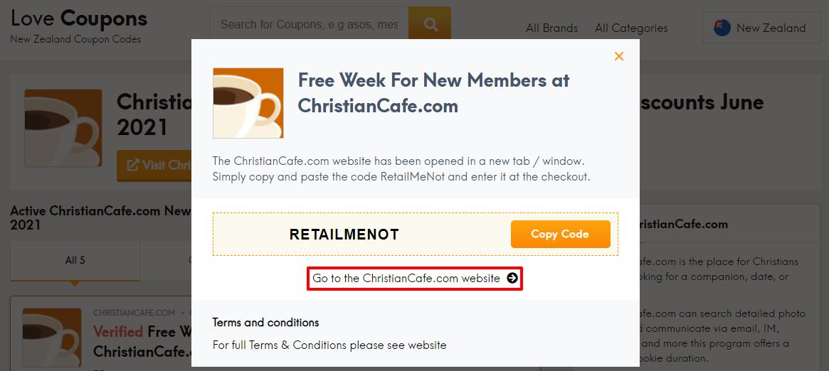 ChristianCafe.com Offer NZ