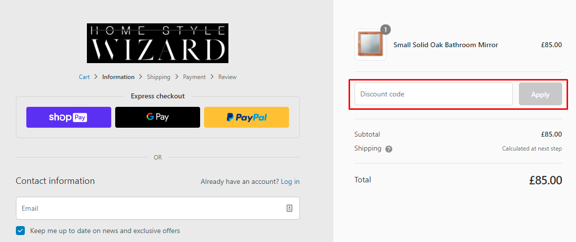 How do I use my Home Style Wizard discount code?