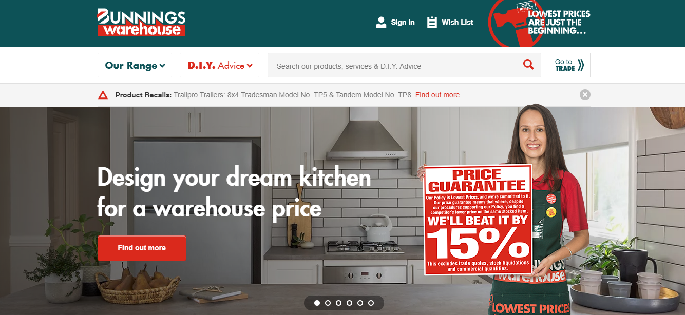 Bunnings Warehouse Homepage
