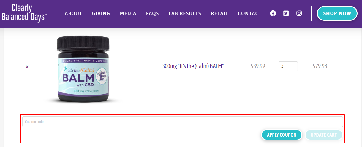 How do I use my Clearly Balanced Days coupon code?
