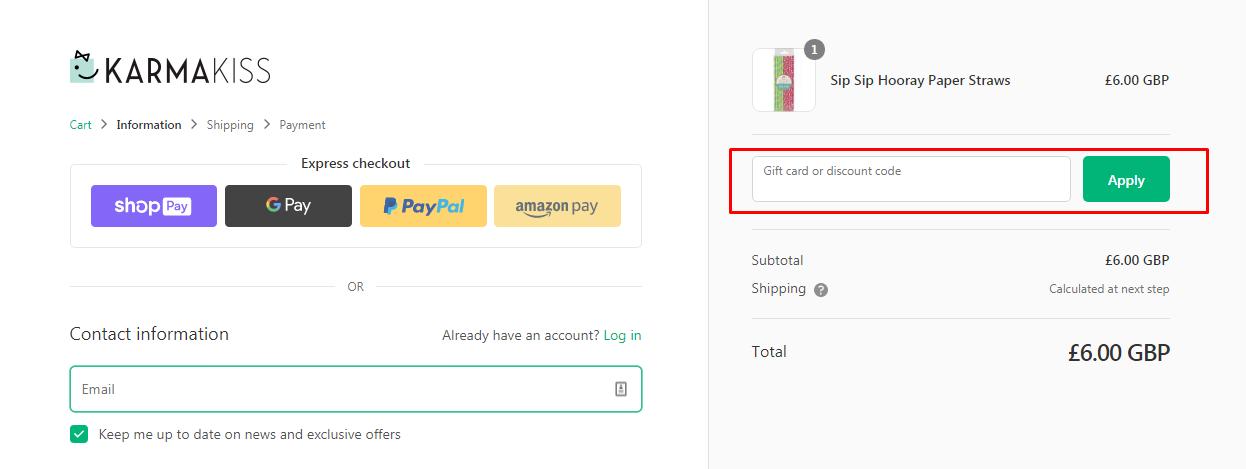 How do I use my Karma Kiss discount code?