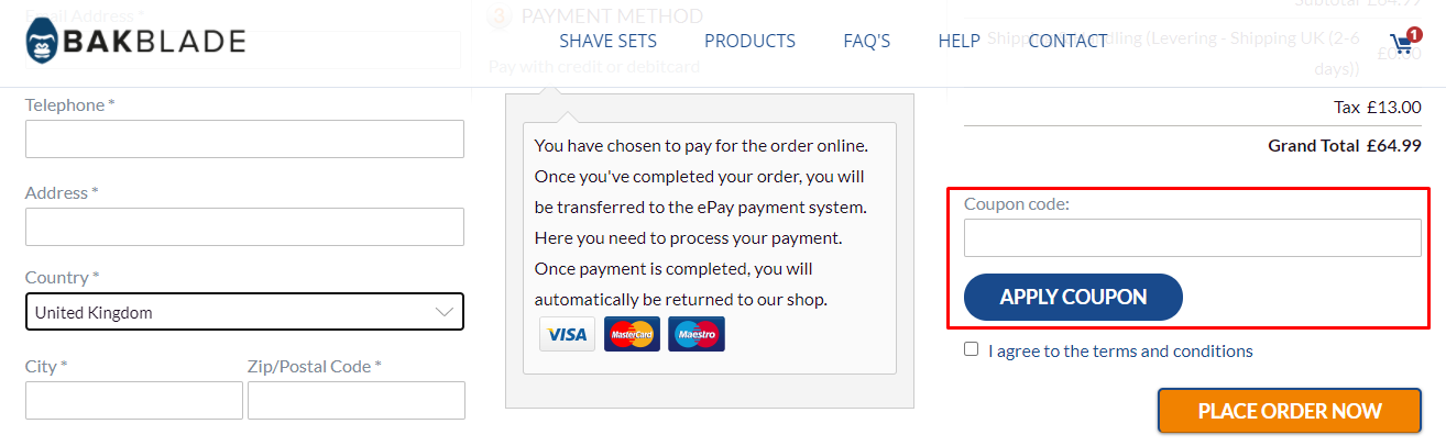 How do I use my BAKblade coupon code?