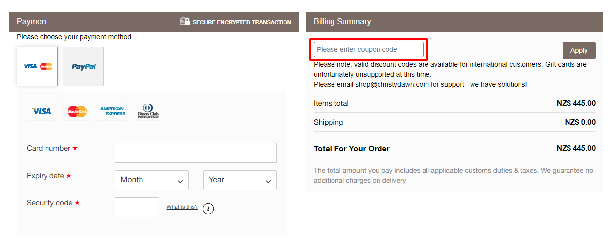 How do I use my Christy Dawn coupon code?