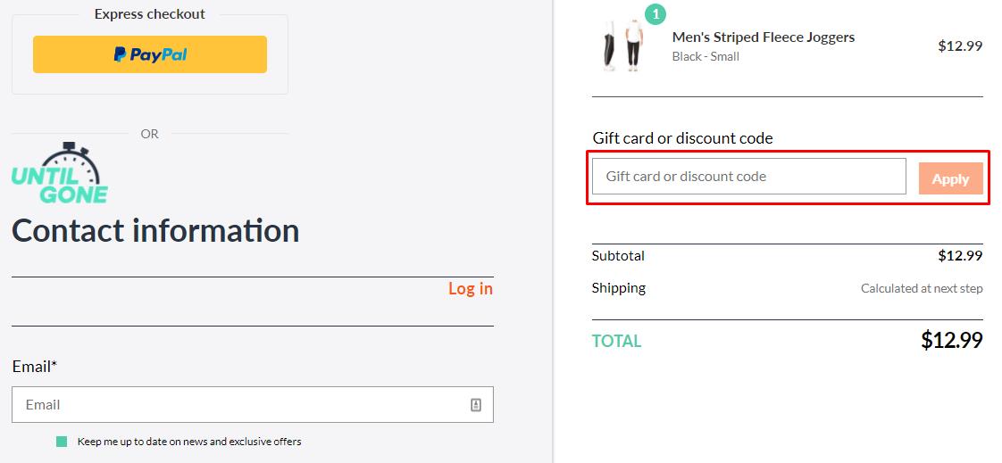 How do I use my UntilGone.com discount code?