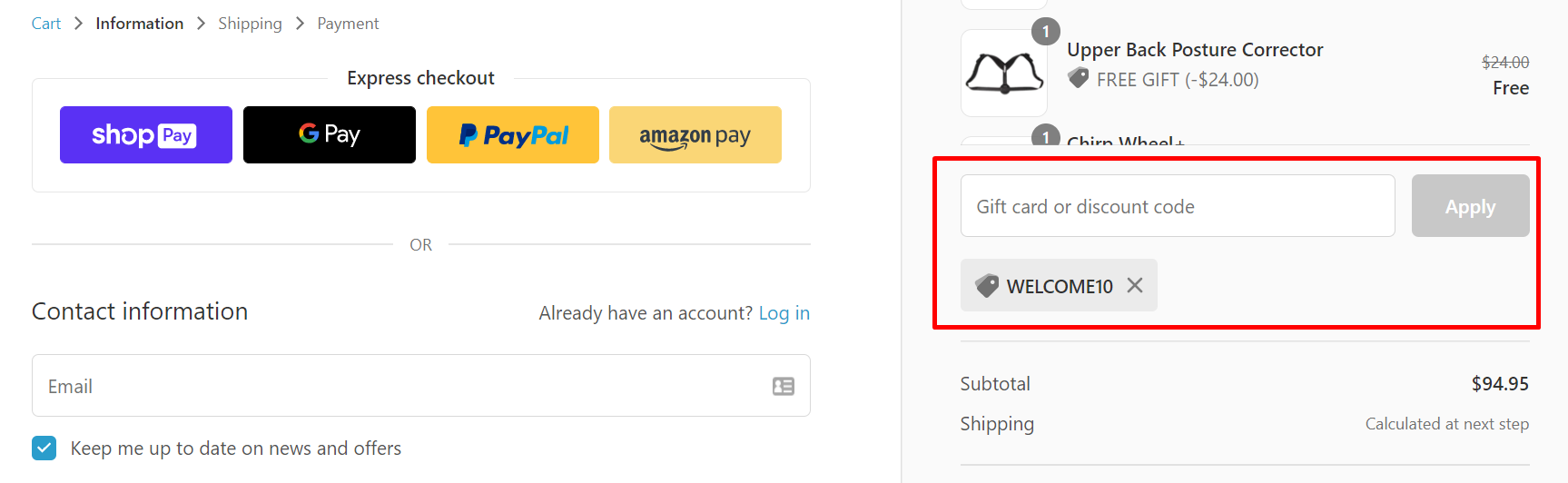 How do I use my Chirp discount code?