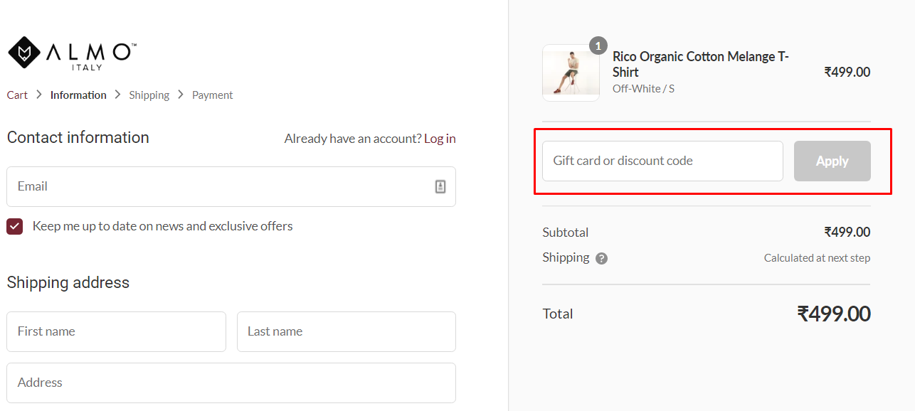 How do I use my Almo wear discount code?