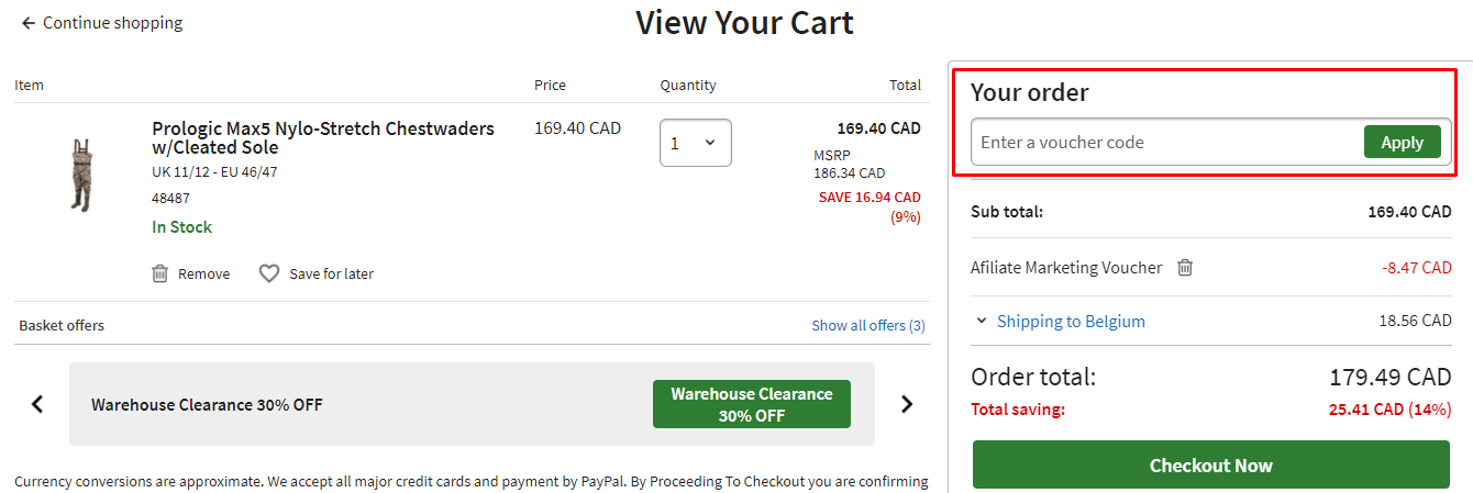 How do I use my Fishing Tackle and Bait voucher code?