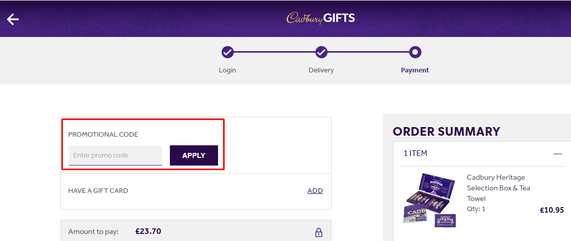 How do I use my Cadbury Gifts Direct promotion code?