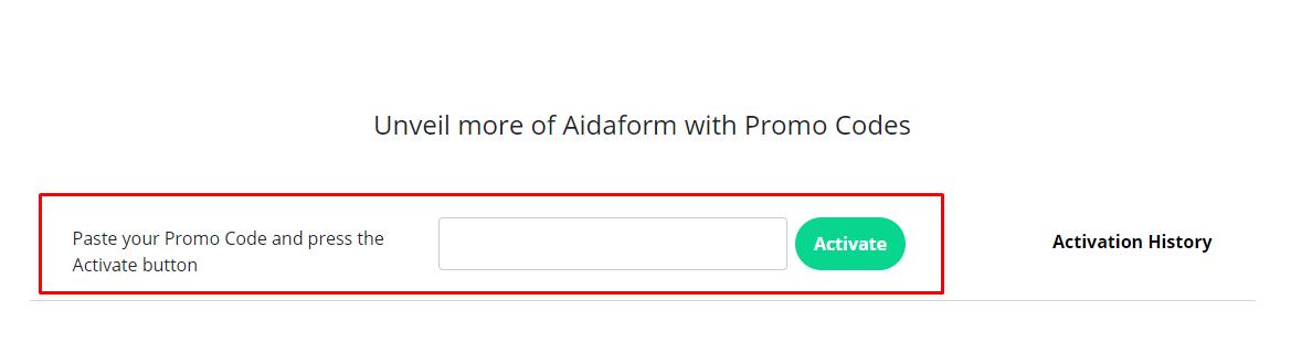How do I use my Aidaform promo code?