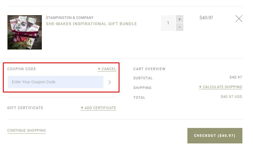 How do I use my Stampington & Company coupon code?