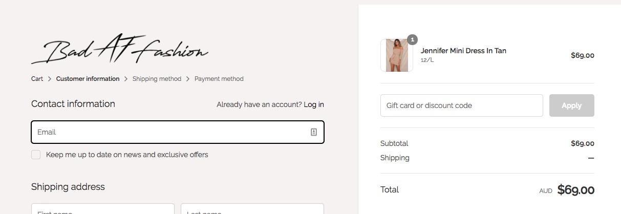 use my Bad AF Fashion discount code